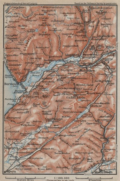 Associate Product DOLGELLAU area topo-map. CADER IDRIS Barmouth Mawddach river Snowdonia 1927