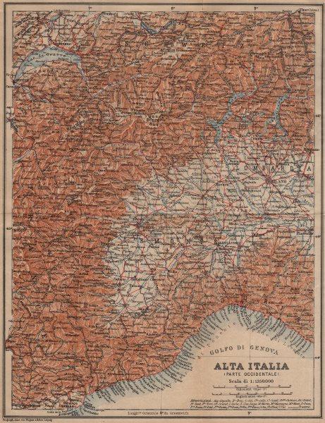 ALTA ITALIA (PARTE OCCIDENTALE). North-west Italy mappa. BAEDEKER 1903 old