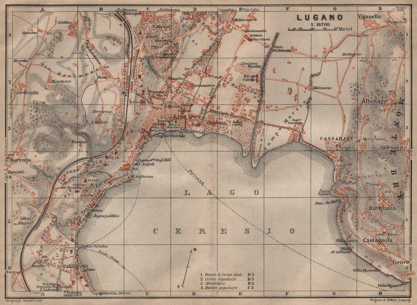 Associate Product LUGANO antique town city stadtplan. Switzerland carte karte. BAEDEKER 1903 map