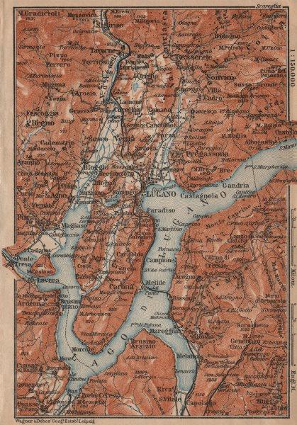 Associate Product LUGANO ENVIRONS. Lake Lago di. Topo-map. Switzerland Suisse Schweiz 1903