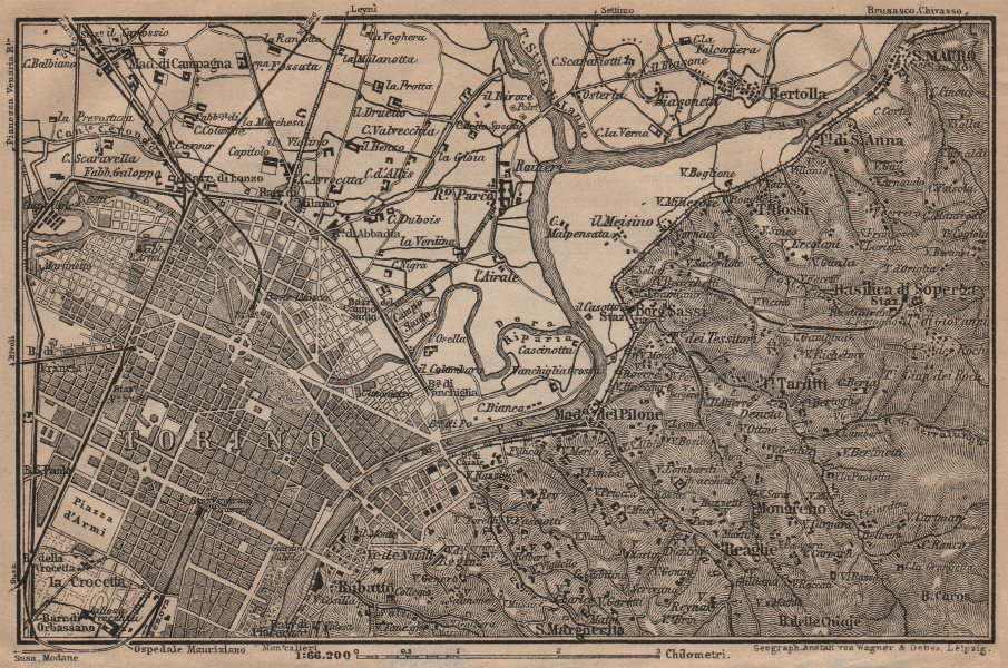 Associate Product TURIN TORINO eastern environs. Italy mappa. BAEDEKER 1903 old antique