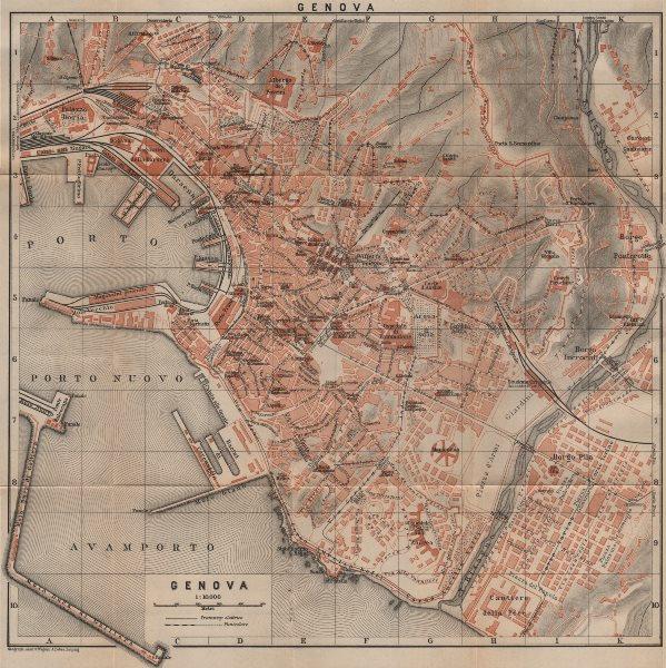 Associate Product GENOVA GENOA town city plan piano urbanistico. Gênes. Italy mappa 1903 old