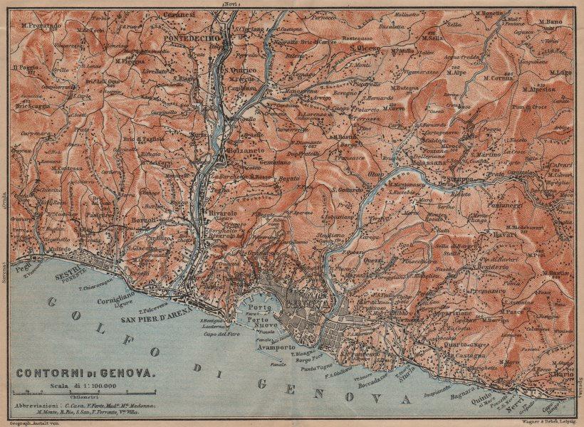 Associate Product GENOVA GENOA environs. Sestri Ponente Nervi Pontedecimo. Italy mappa 1903