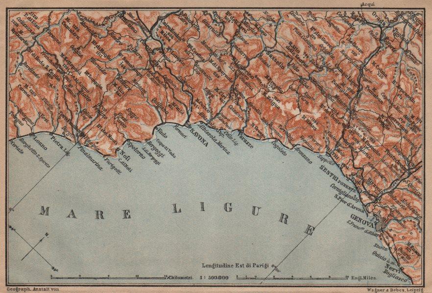 Associate Product RIVIERA DI PONENTE. Genoa Genova-Arenzano-Varazze-Savona-Loana. Italy 1903 map