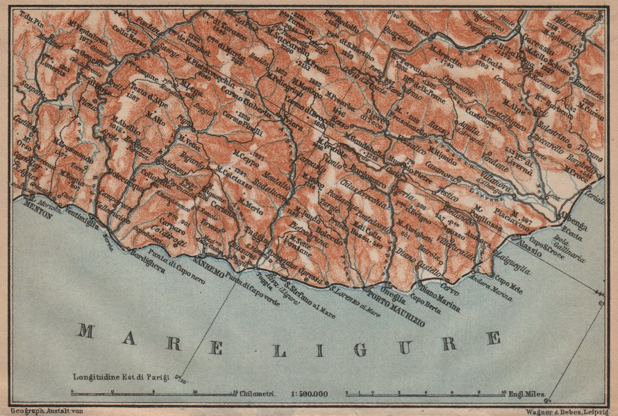 Associate Product RIVIERA DI PONENTE. Menton-Ventimiglia-Sanremo-Imperia-Albenga. Italy 1903 map