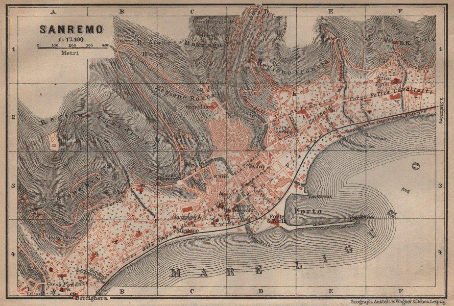 Associate Product SANREMO town city plan piano urbanistico. San Remo. Italy mappa 1903 old