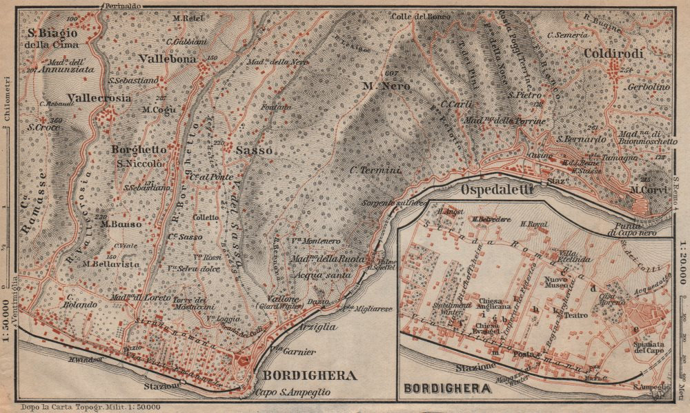 Associate Product BORDIGHERA antique town city plan & environs. Ospedaletti. Italy mappa 1903