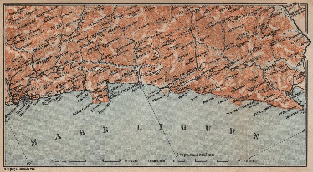 Associate Product RIVIERA DI LEVANTE. Genoa Genova-Portofino-Rapallo-Chiavari-La Spezia 1903 map