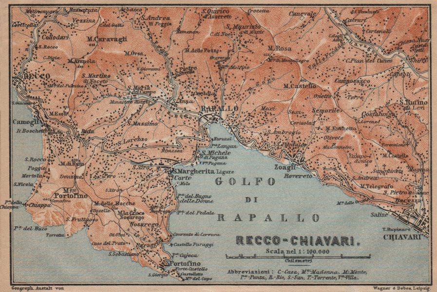 Associate Product GOLFO DI RAPALLO Portofino Camogli Chiavari S. Margherita Ligure Italy 1903 map