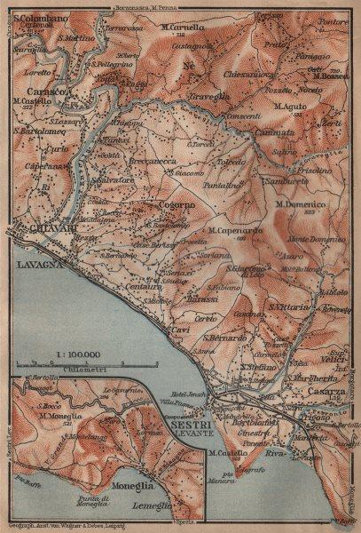 Associate Product LAVAGNA, CHIAVARI & SESTRI-LEVANTE environs. Moneglia Liguria. BAEDEKER 1903 map