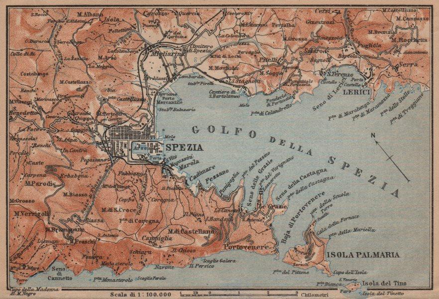 Associate Product GOLFO DELLA SPEZIA. La Spezia environs. Lerici isola Palmaria. Italy 1903 map