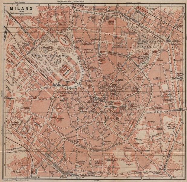 Associate Product MILANO MILAN antique town city plan piano urbanistico. Italy mappa 1903