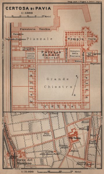Associate Product CERTOSA DI PAVIA ground plan. Italy. Torre del Mangano mappa. BAEDEKER 1903