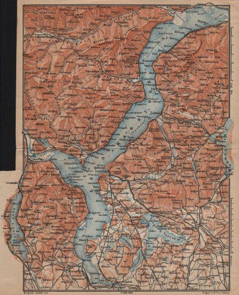 Associate Product LAGO MAGGIORE. Lake Maggiore. Varese Varesa Pallanza. Topo-map. Italy 1903