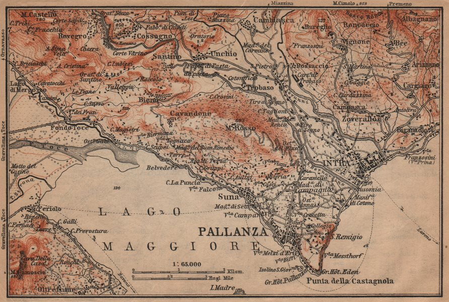 Associate Product PALLANZA ENVIRONS. Verbania. Intra Unchio. Italy mappa. BAEDEKER 1903 old