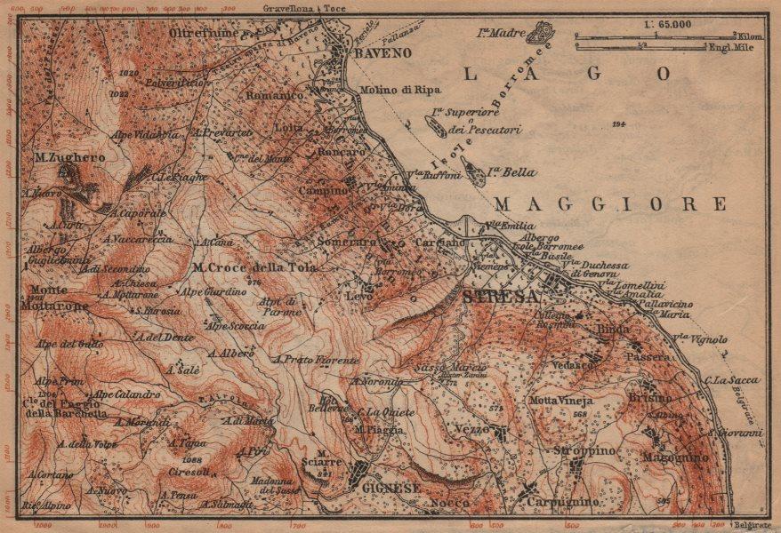Associate Product STRESA ENVIRONS. Baveno Gignese. Italy mappa. BAEDEKER 1903 old antique