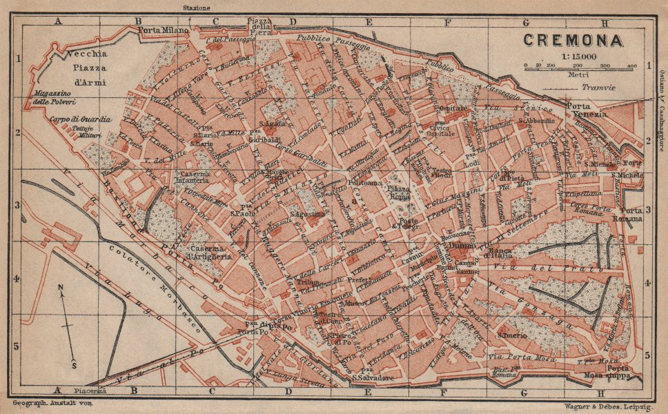 Associate Product CREMONA antique town city plan piano urbanistico. Italy mappa 1903 old