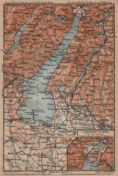 Associate Product LAGO DI/LAKE GARDA. Riva Salo Peschiera Verona. topo-map. Italy mappa 1903