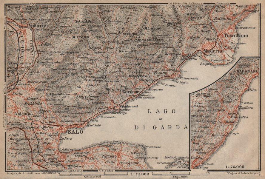 Associate Product SALO MADERNO GARGNANO environs. Lago di/Lake Garda. Brescia. BAEDEKER 1903 map