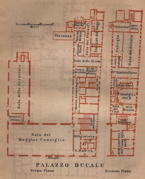 Associate Product PALAZZO DUCALE. Doge's palace floor plan. Venice Venezia mappa. SMALL 1903