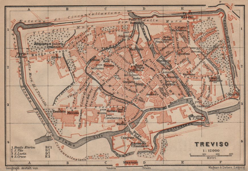Associate Product TREVISO antique town city plan piano urbanistico. Italy mappa 1903 old