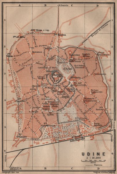 Associate Product UDINE antique town city plan piano urbanistico. Italy mappa. BAEDEKER 1903