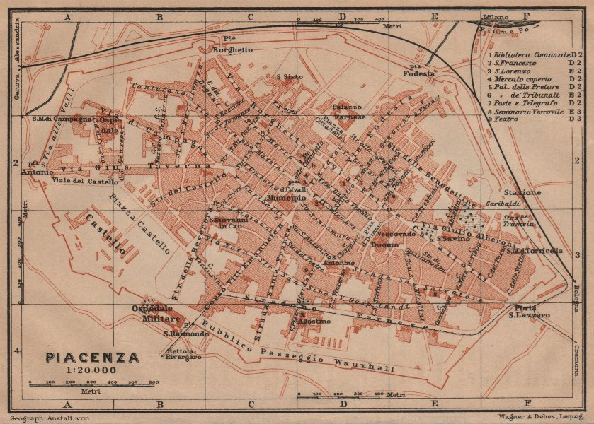 PIACENZA antique town city plan piano urbanistico. Italy mappa 1903 old
