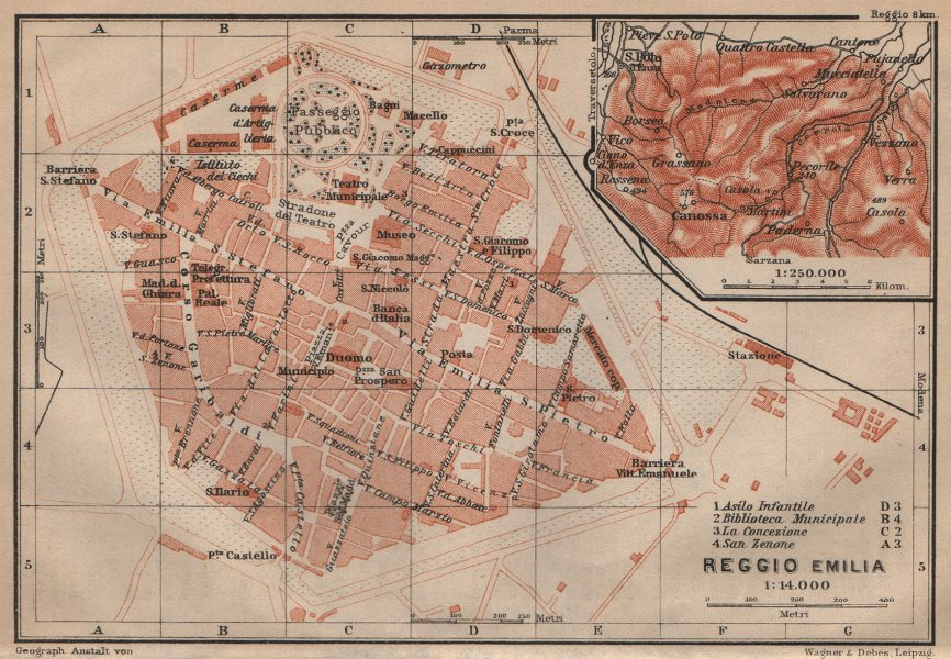 Associate Product REGGIO NELL'EMILIA town city plan & environs/contorni. Italy mappa 1903