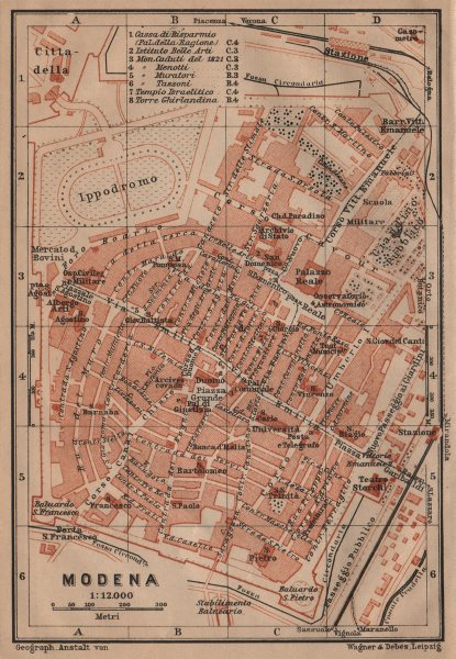 Associate Product MODENA antique town city plan piano urbanistico. Italy mappa. BAEDEKER 1903