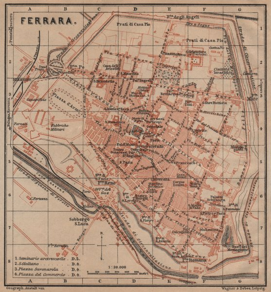 Associate Product FERRARA antique town city plan piano urbanistico. Italy mappa 1903 old