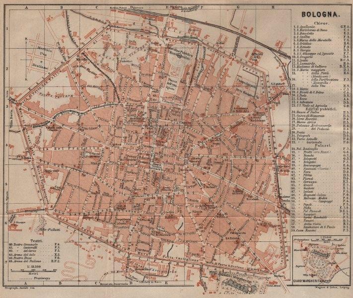 BOLOGNA antique town city plan piano urbanistico. Italy mappa 1903 old