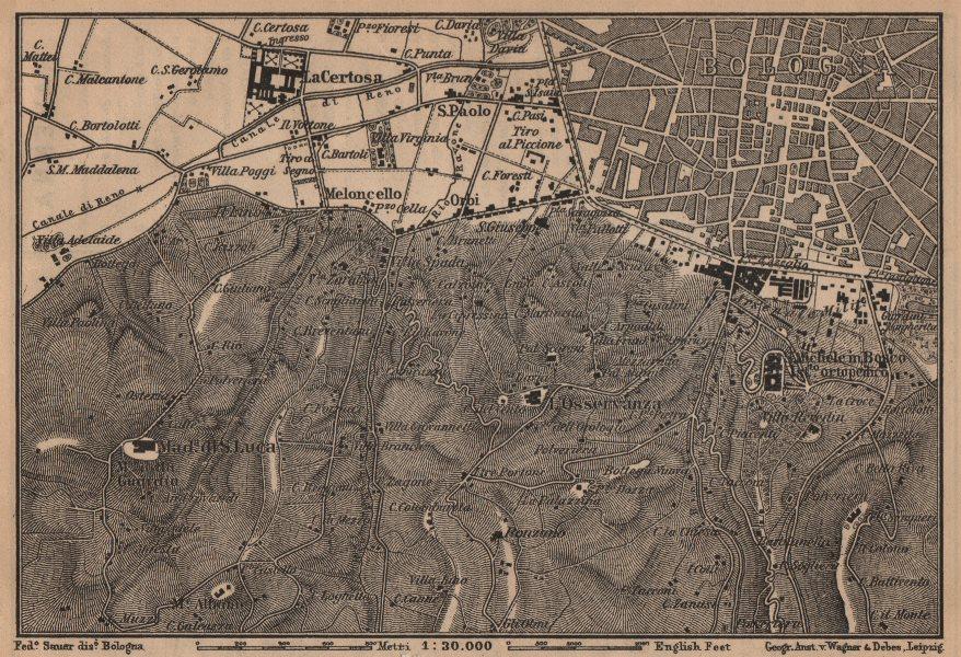 Associate Product BOLOGNA environs. Certosa. Madonna di San Luca. Santo Michele in Bosco 1903 map