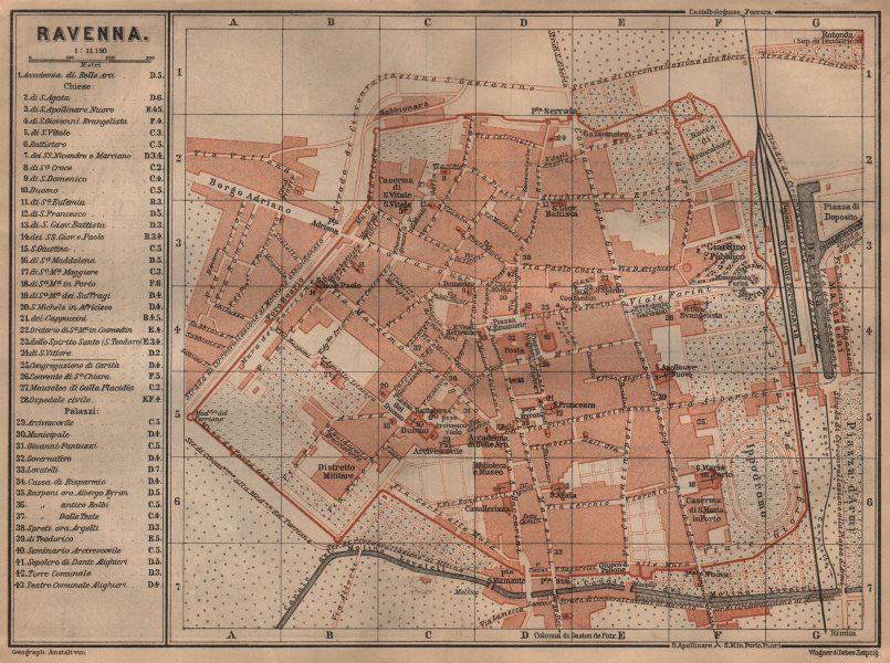Associate Product RAVENNA antique town city plan piano urbanistico. Italy mappa 1903 old