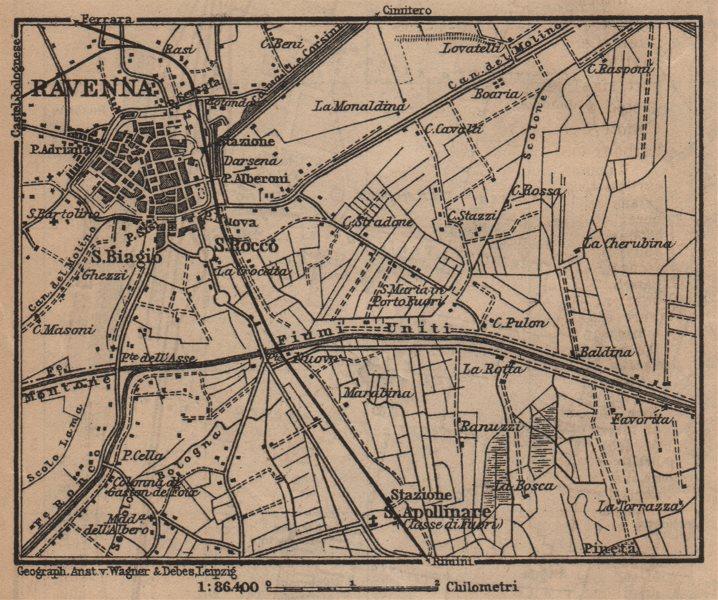 Associate Product RAVENNA environs contorni. Ponte Nuovo. Italy mappa. BAEDEKER. SMALL 1903