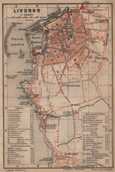Associate Product LIVORNO antique town city plan piano urbanistico. Italy mappa 1903 old