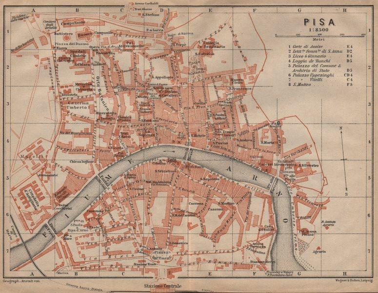 Associate Product PISA antique town city plan piano urbanistico. Italy mappa. BAEDEKER 1903