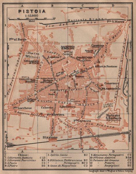 Associate Product PISTOIA antique town city plan piano urbanistico. Italy mappa. SMALL 1903