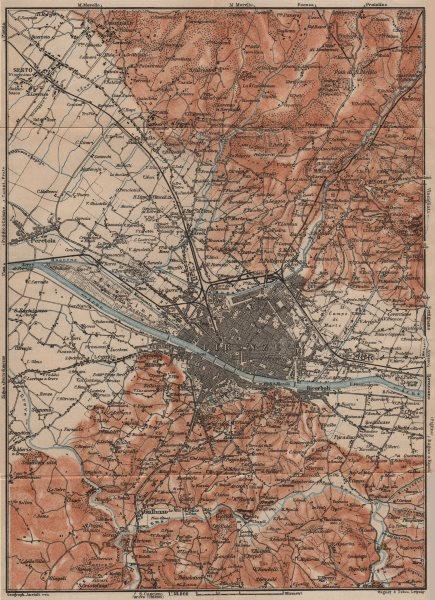 Associate Product FLORENCE FIRENZE environs. Galluzzo Fiesole. Italy mappa. BAEDEKER 1903