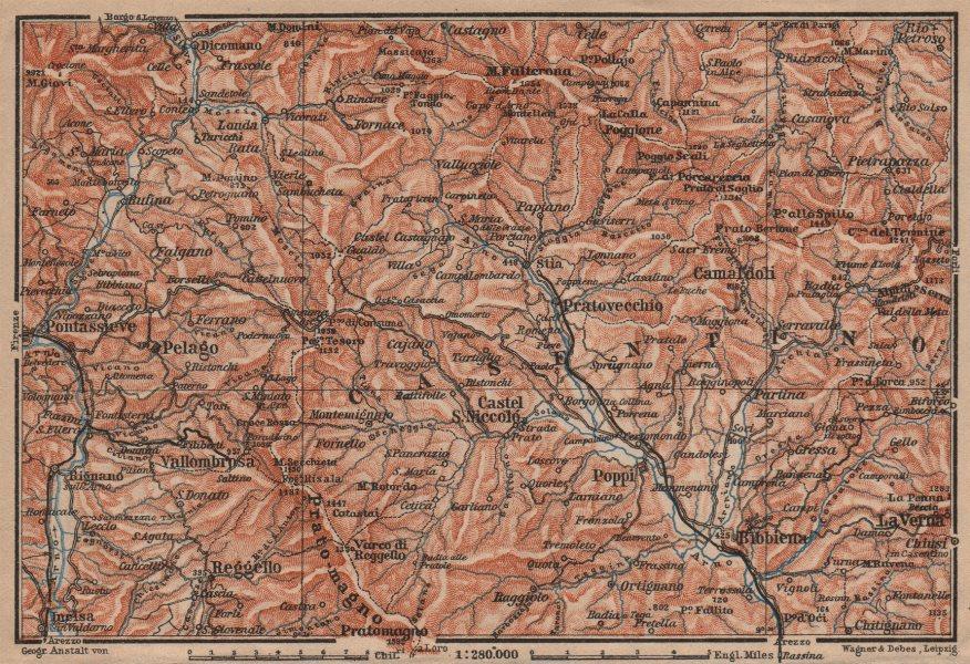 Associate Product VALLOMBROSA & CAMALDOLI environs. Reggello Casentino. Topo-map. Italy 1903