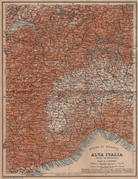 Associate Product ALTA ITALIA (PARTE OCCIDENTALE). North-west Italy mappa. BAEDEKER 1906 old