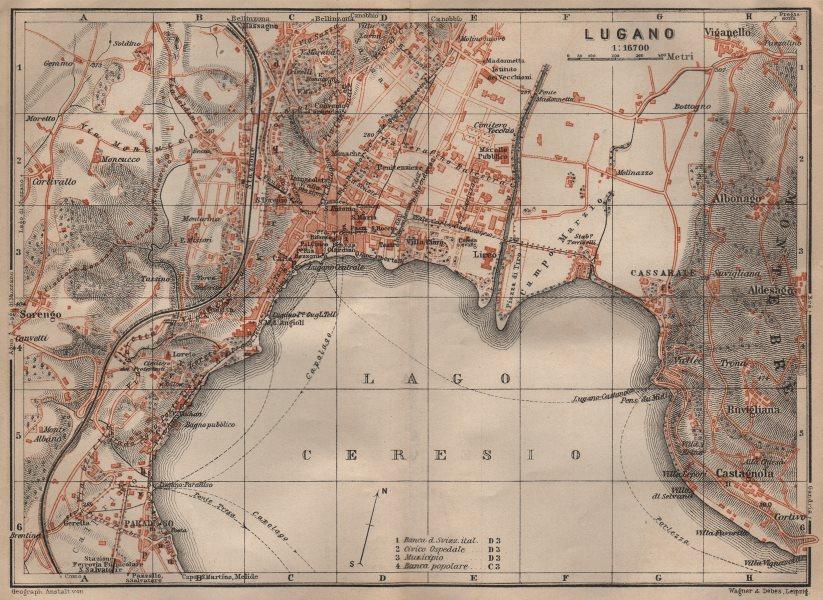 Associate Product LUGANO antique town city stadtplan. Switzerland carte karte. BAEDEKER 1906 map