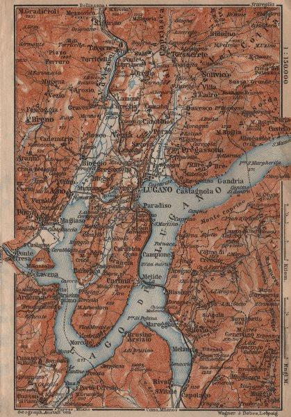 Associate Product LAKE/Lago di LUGANO topo-map. Switzerland Italy Italia carte karte 1906