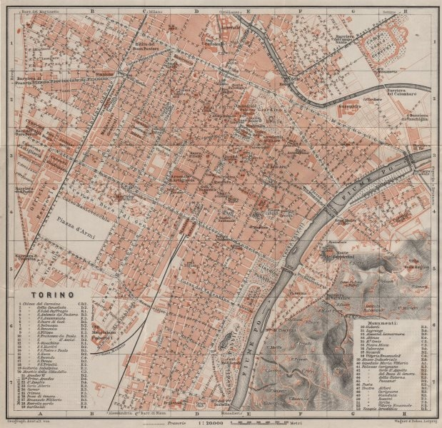 Associate Product TORINO TURIN antique town city plan piano urbanistico. Italy mappa 1906
