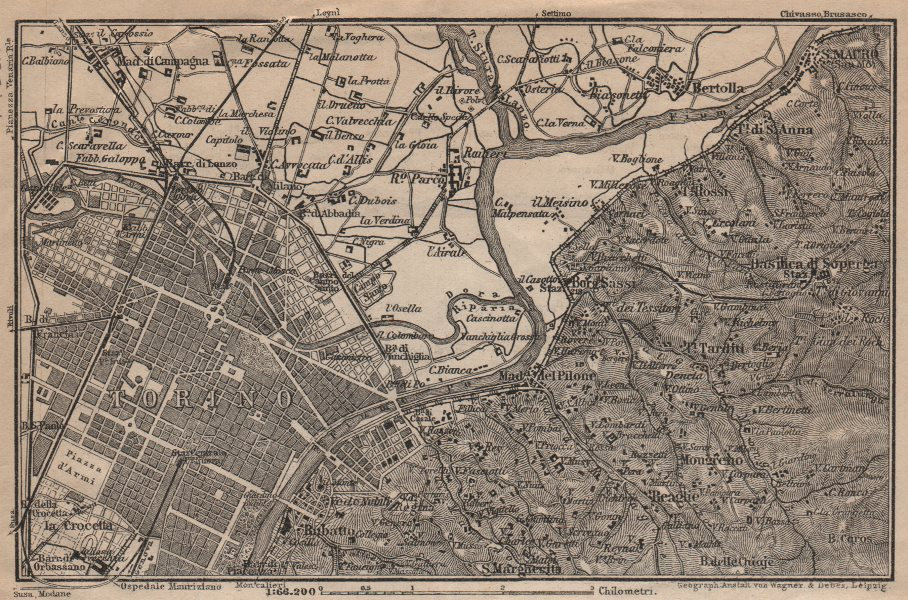 TURIN TORINO eastern environs. Italy mappa. BAEDEKER 1906 old antique