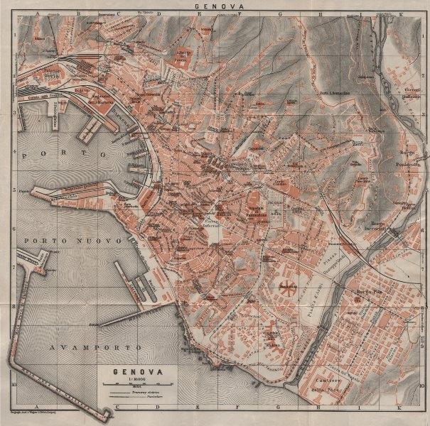 Associate Product GENOVA GENOA town city plan piano urbanistico. Gênes. Italy mappa 1906 old