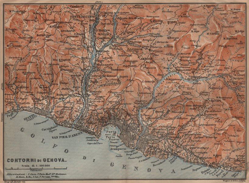 Associate Product GENOVA GENOA environs. Sestri Ponente Nervi Pontedecimo. Italy mappa 1906