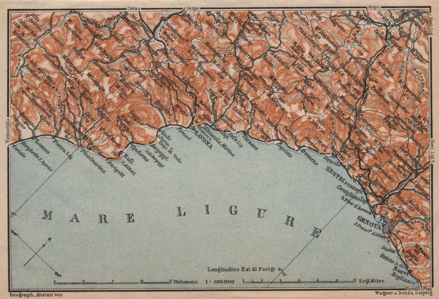 Associate Product RIVIERA DI PONENTE. Genoa Genova-Arenzano-Varazze-Savona-Loana. Italy 1906 map