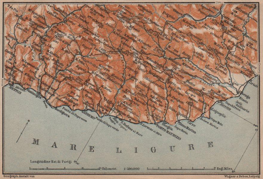 Associate Product RIVIERA DI PONENTE. Menton-Ventimiglia-Sanremo-Imperia-Albenga. Italy 1906 map