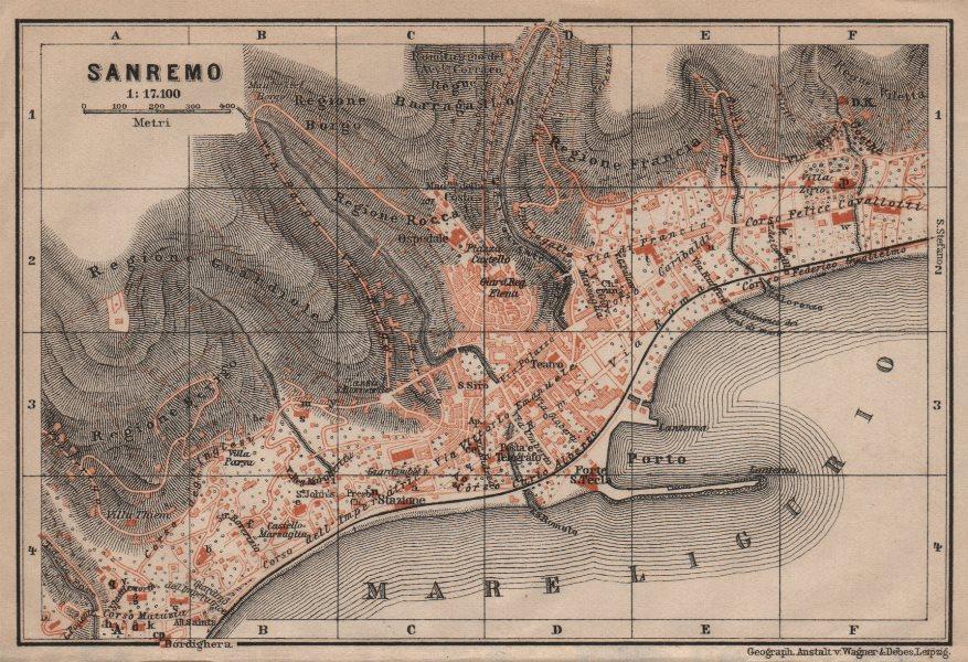 Associate Product SANREMO town city plan piano urbanistico. San Remo. Italy mappa 1906 old