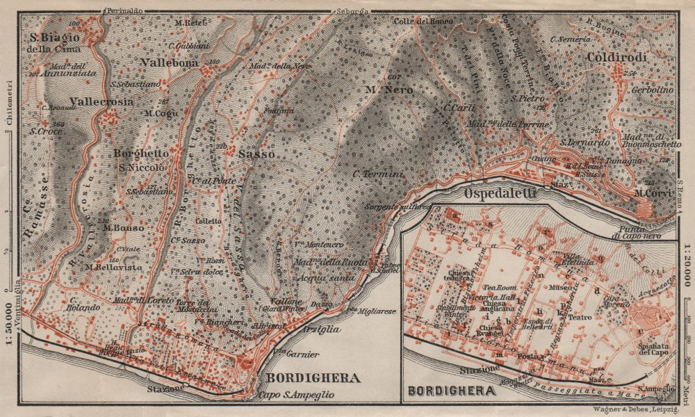 Associate Product BORDIGHERA antique town city plan & environs. Ospedaletti. Italy mappa 1906